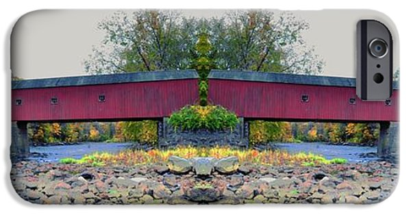 Covered Bridge iPhone Cases - West Cornwall Covered Bridge 4 iPhone Case by Ricardo Dominguez