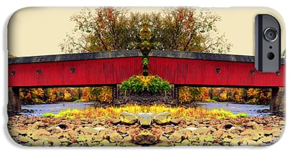 Covered Bridge iPhone Cases - West Cornwall Covered Bridge 5 iPhone Case by Ricardo Dominguez