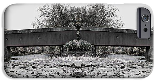 Covered Bridge iPhone Cases - West Cornwall Covered Bridge 6 iPhone Case by Ricardo Dominguez