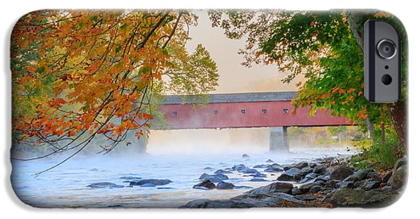 Covered Bridge iPhone Cases - West Cornwall Covered Bridge Autumn Square iPhone Case by Bill  Wakeley