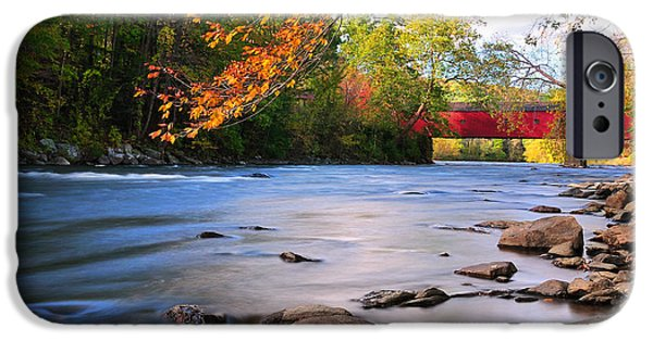 Nature Scene Photographs iPhone Cases - West Cornwall Covered Bridge- Autumn  iPhone Case by Thomas Schoeller