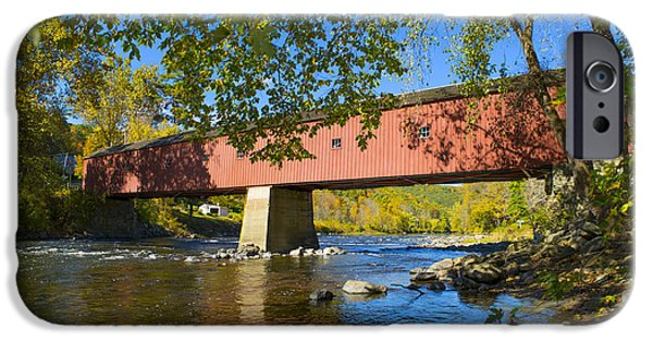 Covered Bridge iPhone Cases - West Cornwall Covered Bridge iPhone Case by Diane Diederich