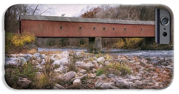 Covered Bridge iPhone Cases - West Cornwall Covered Bridge iPhone Case by Joan Carroll