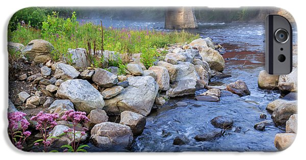 Connecticut Landscape iPhone Cases - West Cornwall Covered Bridge Square iPhone Case by Bill  Wakeley
