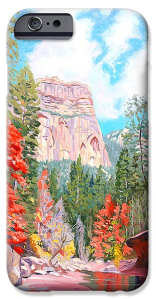 Sedona Paintings iPhone Cases - West Fork - Sedona iPhone Case by Steve Simon