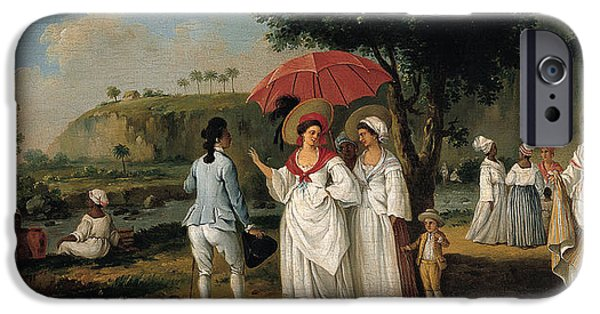 Landscape With Figure iPhone Cases - West Indian Landscape with Figures Promenading before a Stream iPhone Case by Agostino Brunias