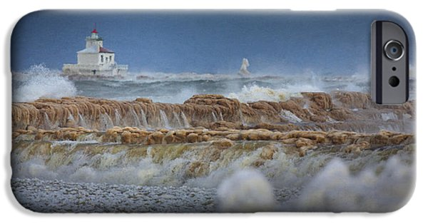 Lighthouse iPhone Cases - West Pierhead in Ice iPhone Case by Everet Regal