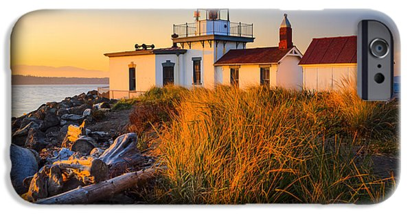 North America Photographs iPhone Cases - West Point Lighthouse iPhone Case by Inge Johnsson