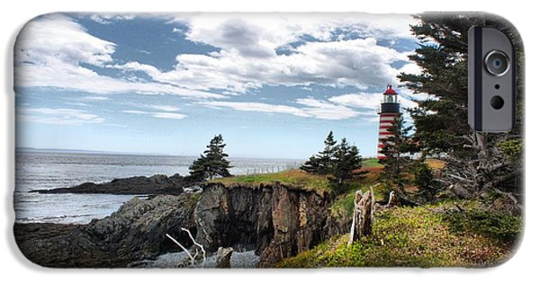 Nubble Lighthouse iPhone Cases - West Quoddy 4038 iPhone Case by Joseph Marquis