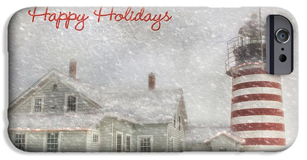 West Quoddy Head Lighthouse iPhone Cases - West Quoddy Christmas iPhone Case by Lori Deiter