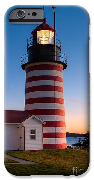 West Quoddy Head Lighthouse iPhone Cases - West Quoddy Head Light at Dawn I iPhone Case by Clarence Holmes