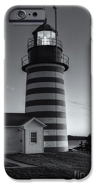 West Quoddy Head Lighthouse iPhone Cases - West Quoddy Head Light at Dawn II iPhone Case by Clarence Holmes