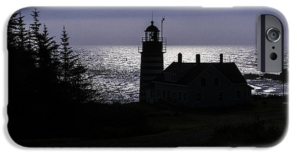 West Quoddy Head Lighthouse iPhone Cases - West Quoddy Head Light Station in Silhouette iPhone Case by Marty Saccone