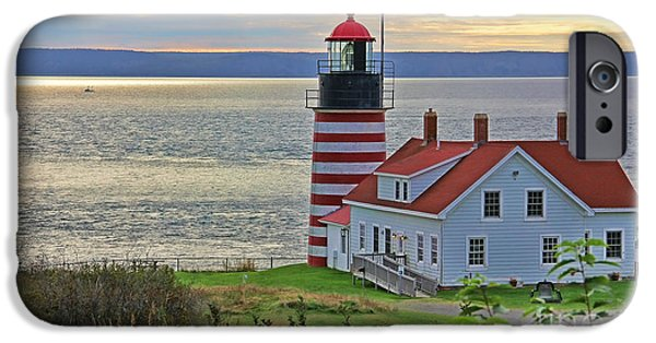 West Quoddy Head Lighthouse iPhone Cases - West Quoddy Head Lighthouse 3827 iPhone Case by Jack Schultz