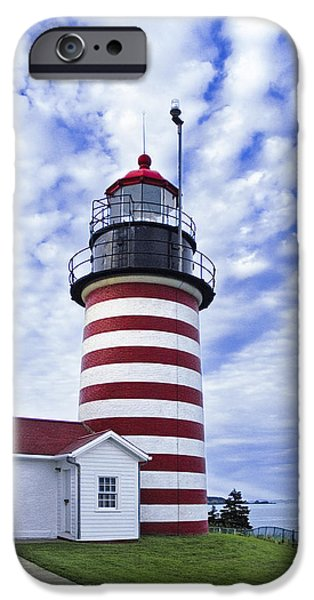 West Quoddy Head Lighthouse and Clouds iPhone Case by Marty Saccone