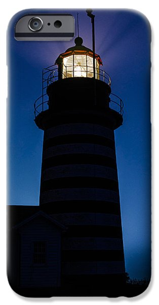 Maine iPhone Cases - West Quoddy Head Lighthouse Backlit in Fog iPhone Case by Marty Saccone