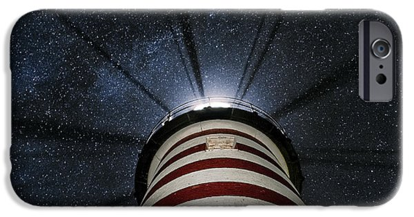 Quoddy iPhone Cases - West Quoddy Head Lighthouse Night Light iPhone Case by Marty Saccone