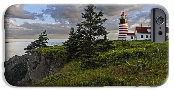 Lighthouse iPhone Cases - West Quoddy Head Lighthouse Panorama iPhone Case by Marty Saccone