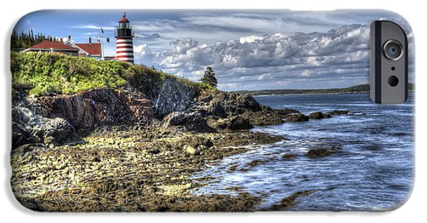 New England Lighthouse iPhone Cases - West Quoddy Lubec Maine Lighthouse iPhone Case by Shawn Everhart