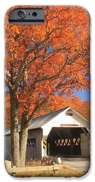 Covered Bridge iPhone Cases - West River Covered Bridge Vermont Fall Foliage iPhone Case by John Burk