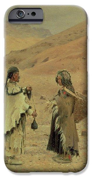 Tibetan iPhone Cases - West Tibetans, 1875 Oil On Canvas iPhone Case by Piotr Petrovitch Weretshchagin