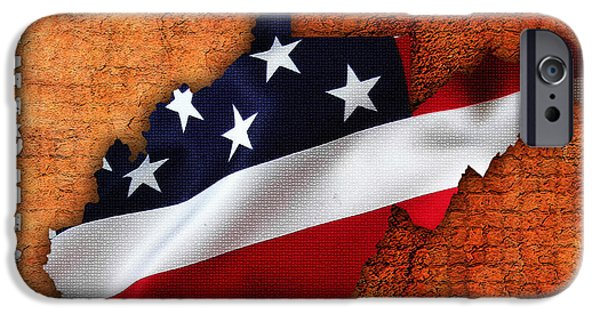 States iPhone Cases - West Virginia American Flag State Map iPhone Case by Marvin Blaine