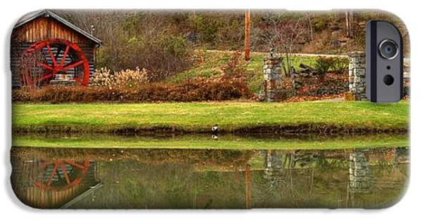 Grist Mill iPhone Cases - West Virginia Cooks Mill Forge Building Panorama iPhone Case by Adam Jewell