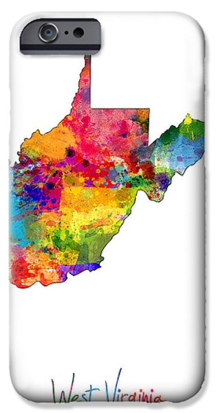 Virginia iPhone Cases - West Virginia Map iPhone Case by Michael Tompsett