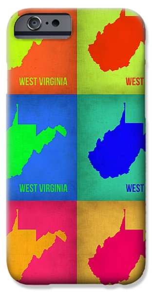West iPhone Cases - West Virginia Pop Art Map 1 iPhone Case by Naxart Studio