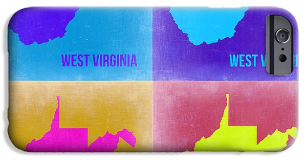 West iPhone Cases - West Virginia Pop Art Map 2 iPhone Case by Naxart Studio