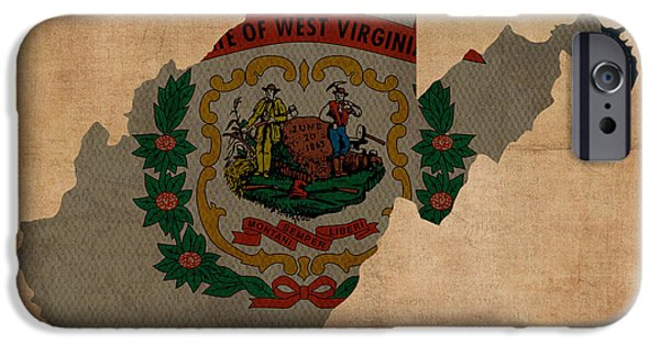 Background Mixed Media iPhone Cases - West Virginia State Flag Map Outline With Founding Date On Worn Parchment Background iPhone Case by Design Turnpike