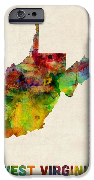 West Digital Art iPhone Cases - West Virginia Watercolor Map iPhone Case by Michael Tompsett