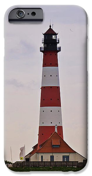 North Sea iPhone Cases - Westerhever Lighthouse II iPhone Case by Angela Doelling AD DESIGN Photo and PhotoArt