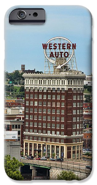 City Scape iPhone Cases - Western Auto Building iPhone Case by Crystal Nederman