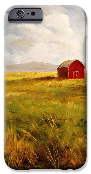 Field. Cloud iPhone Cases - Western Barn iPhone Case by Lee Piper