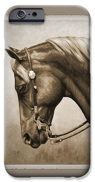 Horseback Riding iPhone Cases - Western Horse Aged Photo FX Sepia Pillow iPhone Case by Crista Forest