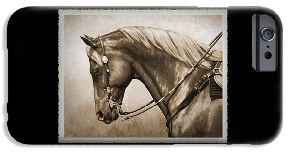 Pleasure iPhone Cases - Western Horse Old Photo FX iPhone Case by Crista Forest