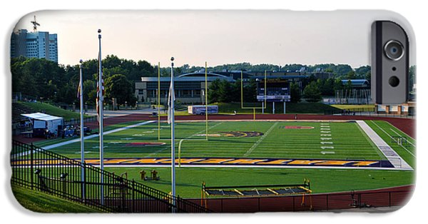 Central Il iPhone Cases - Western Illinois University Football Stadium iPhone Case by Thomas Woolworth