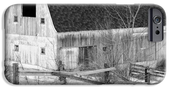 Red Barn In Winter iPhone Cases - Western New York Farm 1 in black and white iPhone Case by Tracy Winter