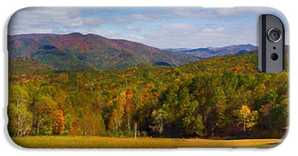 Shed iPhone Cases - Western North Carolina Horses and Mountains Panorama iPhone Case by John Haldane