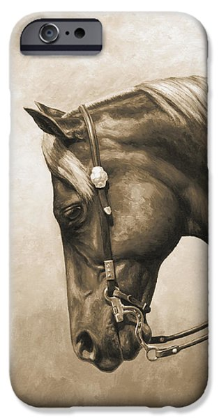 Horse iPhone Cases - Western Pleasure Horse Phone Case in Sepia iPhone Case by Crista Forest