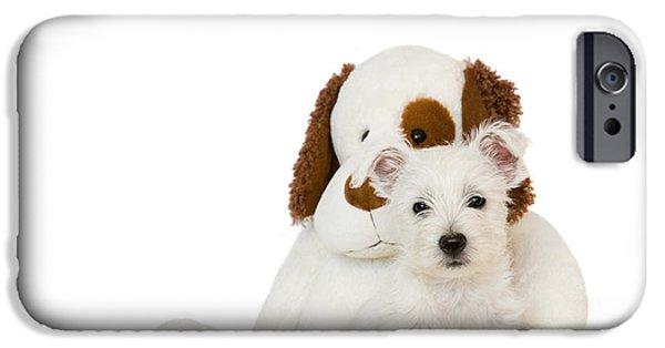 Westie Digital iPhone Cases - Westie Puppy and Teddy Bear iPhone Case by Natalie Kinnear