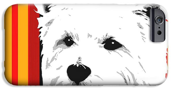 Westie Digital iPhone Cases - Westie With Stripes iPhone Case by Cindy Edwards