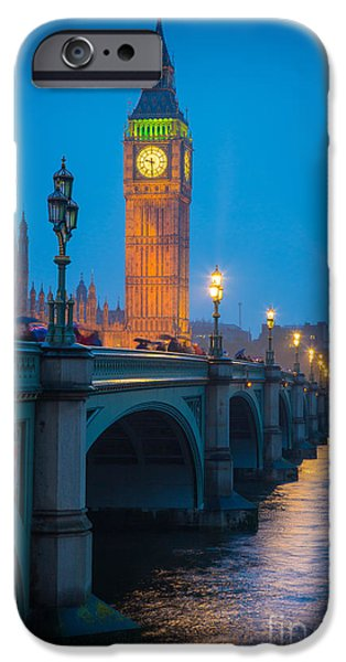 Night Lamp iPhone Cases - Westminster Bridge at Night iPhone Case by Inge Johnsson