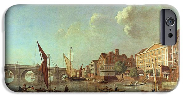 River iPhone Cases - Westminster Bridge Looking Up The River, C.1749 Oil On Canvas iPhone Case by Samuel Scott