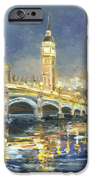 Recently Sold -  - Night Lamp iPhone Cases - Westminster Bridge iPhone Case by Luke Karcz