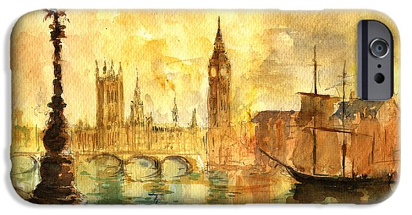 Sign iPhone Cases - Westminster palace London Thames iPhone Case by Juan  Bosco