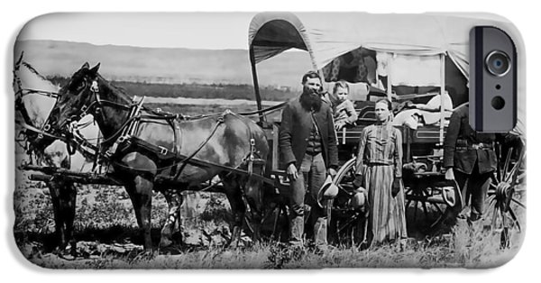 Nebraska iPhone Cases - WESTWARD FAMILY IN COVERED WAGON c. 1886 iPhone Case by Daniel Hagerman
