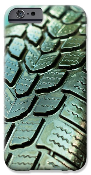 Gear Pyrography iPhone Cases - Wet car tire texture in green and blue colors iPhone Case by Oliver Sved