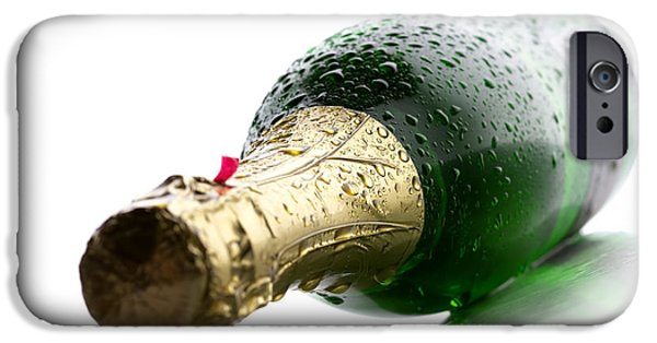 White Background iPhone Cases - Wet Champagne bottle iPhone Case by Johan Swanepoel